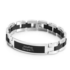 Personalized Black And Silver Id Bracelet and Keepsake Box Gift  $30.00