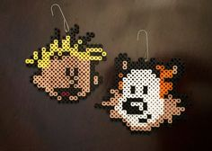 Calvin and Hobbes Inspired 8 Bit Ornament Set Pearler Bead Patterns, Perler Patterns, Pearler Beads, Fuse Beads, All Cartoon Characters, Pixel Pattern, Calvin And Hobbes, Plastic Canvas Patterns, 8 Bit