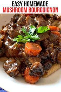 This dish is so rich and delicious that you won't even miss the meat. Mushrooms turn this yummy recipe into something really tasty and special. It's easy to make and can top pasta, potatoes or rice. #MushroomBourguignon #MushroomRecipe