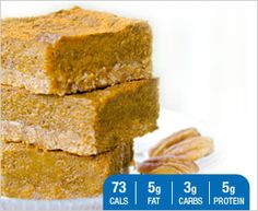 Pumpkin Spice Bars using whey protein -- interested to try.