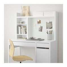 IKEA - MICKE, Add-on unit-high, white, Extra room above the top shelf where you can keep your books, CDs or DVDs. The side panels act as bookends and keep everything in place. Fits MICKE desk This product has been developed and tested for domestic use. Study Room Decor, Teen Room Decor, Bedroom Desk, Room Ideas Bedroom, Bedroom Furniture, Ikea Bedroom Design, Furniture Dolly, Bedroom Kids, Home Office Design