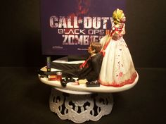 Video Game Call of Duty Zombies Bride and Groom Funny Wedding Cake Topper Horror by mikeg1968 on Etsy https://www.etsy.com/listing/188334140/video-game-call-of-duty-zombies-bride
