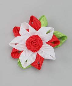 Take a look at this Perfect Red Flower Clip by Couture Hair Bows on #zulily today!