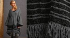 Ethnique et bordé de franges, ce poncho est directement inspiré du modèle original venu de Bolivie. Réalisé au point mousse, jersey endroit et côtes 1/1.  Taille unique Le matériel Fil à ...