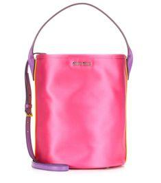 MIU MIU Satin Bucket Bag. #miumiu #bags #shoulder bags #hand bags #leather #bucket #lining #