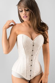 Exquisite Cream Brocade Longline Overbust Waist Trainer – Corset Story US Sexy Outfits, Corset Steampunk, Steampunk Fashion, Green Corset, White Corset, Waist Trainer Vest, Bridal Corset, Bh Set, Lace Tights