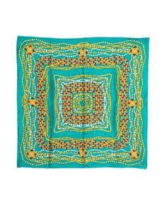 Green necklace print silk scarf Sale - Chanel Sale