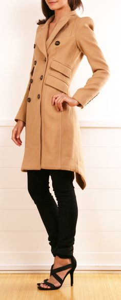 Camel coat and black skinnies
