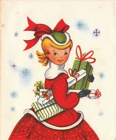 Vintage  Christmas Girl With Presents.