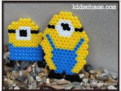 Despicable Me Minions at your service! Easy to copy... Perler Beads at the ready!!  How to make a Despicable Me Minion keyring or badge