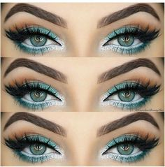 Turquoise green eyes with white liner. Shop our eye liners here > https://www.priceline.com.au/cosmetics/eyes/eye-liner