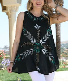 Another great find on #zulily! Black Hand-Painted Floral Sleeveless Tunic #zulilyfinds