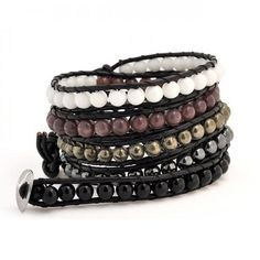 I absolutely love this Multi Pearl Leather Wrap Surf Bracelet! Cheap Body Jewelry, Bracelets For Men, Jewelry Bracelets, Bangles, Wrap Bracelets, Jewellery, Gemstone Beads, Brown Gemstone, Bling Jewelry