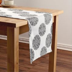 Eye Kaleidoscope Short Table Runner - black gifts unique cool diy customize personalize
