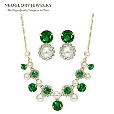 Gold Plated Simulated Pearl Green Zircon Charm Jewelry Sets Mother's Birthday Gifts New Hot Fashion CN2 ZPR1