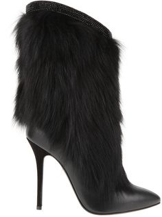 Giuseppe Zanotti   Stiletto Heel Pointytoe Boots in Back Leather and Fur