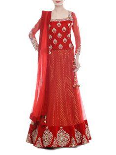 Crimson Net and Velvet Lehenga