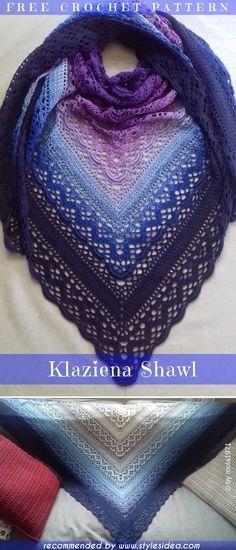 Klaziena crochet shawl free pattern crochet → shawl written us terms level… knitting bordado Chat Crochet, Crochet Shawl Free, Ravelry Crochet, Crochet Shawls And Wraps, Crochet Scarves, Crochet Lace, Ravelry Free, Tunisian Crochet, Crotchet