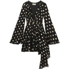 Saint Laurent Asymmetric polka-dot fil coupé silk-blend georgette wrap... (€5.705) ❤ liked on Polyvore featuring dresses, black, short dresses, polka dot mini dress, short wrap dress, polka dot mini skirt and short mini dress