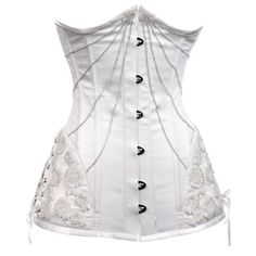 CD-261 White Long Underbust with Floral Hip Detail - MADE TO ORDER - Bridal corsets - Couture and Bridal