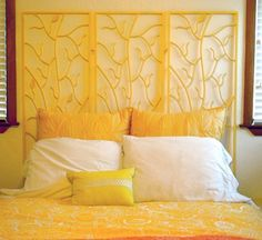 Buy a decorative folding screen and mount it to the wall as a whole or for more impact, separate the pieces and hang them a few inches apart. To add even more of your personality, find a plain screen and cover it with a fabric you love, paint it in your favorite color or use it as a canvas for your own artwork.