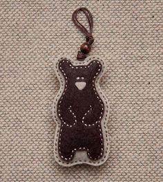 Felt teddy bear ornament or key chain pendant. $10.50, via Etsy.