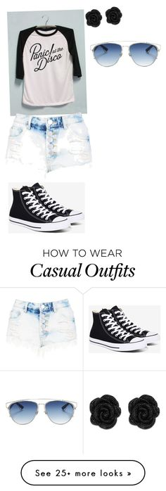 """""""Casual Band Geek"""" by styling-blondie on Polyvore featuring Converse, Christian Dior, bandtshirt and bandtee"""