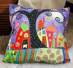 Velvet throw pillowcase cushion covers Abstract by WhooplaArt, $21.00 ETSY Abstract Houses/Original FOLK ART design by' Karla Gerard' (optional sizes)<3<3<3