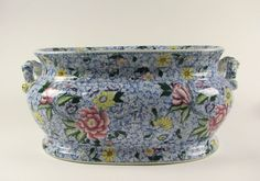 Antique Stafforshire Transferware Chintz pattern Foot Bath A Beauty and Rare