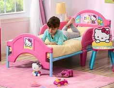Hello Kitty Plastic Convertible Toddler Bed With Guardrails Bedroom Furniture