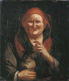 Follower of Jacob JORDAENS  A Jester holding a cat