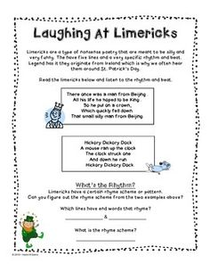 St. Patrick\'s Day Limericks | Write It! | Pinterest | Template ...