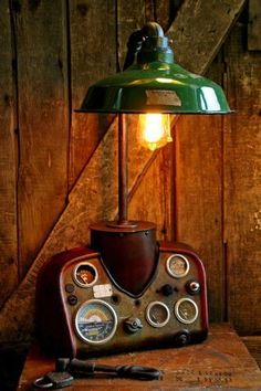 18 Gorgeous Steampunk Machine Age Lamps - Homes and Hues Steampunk Furniture, Vintage Industrial Furniture, Industrial Lamps, Industrial Style, Industrial Closet, Industrial Shop, Industrial Bookshelf, Industrial Windows, Industrial Apartment