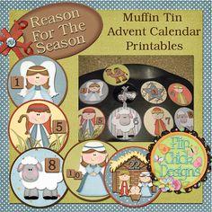 Nativity Muffin Tin Advent Calendar Printables by flipchickdesigns
