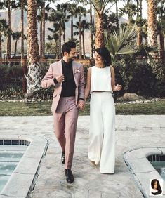 Unique Bohemian Two Pieces Wedding Dress Jumpsuit Bridal Gowns Two Piece Wedding Dress, Luxury Wedding Dress, Casual Wedding, Wedding Attire, Wedding Summer, Engagement Party Dresses, Civil Wedding Dresses, Engagement Outfits, Rehearsal Dinner Outfits