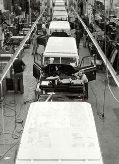 The Land Rover production line at Solihull on April 8, 1975.