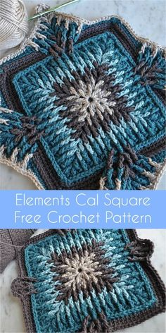 Elements Cal Square for Blankets, Pillows, Centrepieces [Free Crochet Pattern] #crochet #crochetlove #crochetaddict #crochetideas #crochetsquares