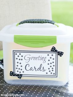 DIY Greeting Cards Organizer with free printable.