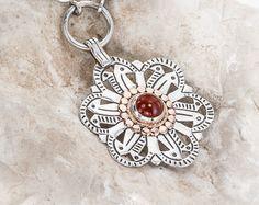 Carnelian necklace, Ornamental  Sterling silver  Carnelian Pendant , Silver and Gold Carnelian Necklace