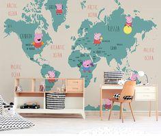 peppa pig map cartoon george nursery murals