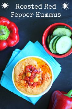 Roasted Red Pepper Hummus #PepperParty (Giveaway Post!)  Plus- secrets to the smoothest hummus ever!