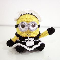 Free Amigurumi Frenchie the 2 eyed Minion Crochet Pattern « The Yarn Box Minion Crochet Patterns, Minion Pattern, Crochet Minions, Crochet Patterns Amigurumi, Amigurumi Doll, Crochet Dolls, Crochet Crafts, Crochet Projects, Diy Crafts