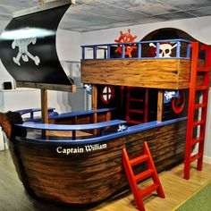 Dreamcraft design, build and deliver unique children's themed beds and bedroom furniture within the UK. Browse our magical products in our online store. Pirate Bedding, Pirate Bedroom, Pirate Room Decor, Cool Kids Bedrooms, Awesome Bedrooms, Kids Rooms, Pirate Ship Bed, Campervan Bed, Kids Room Furniture