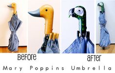 How to make Mary Poppin's parrot umbrella handle. Family Halloween, Holidays Halloween, Halloween Decorations, Halloween Ideas, Halloween Tricks, Halloween 2013, Homemade Halloween, Halloween Stuff, Mad Hatter Costumes