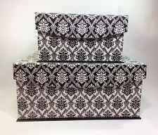 New Black And White Damask Keepsake Nested Decorative Storage Box Large Chic