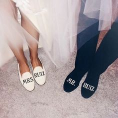 Please, two pairs for future Mrs. Added to my wedding list!✔️ Pic via: Bride Slippers, Wedding Slippers, Wedding Shoes, Wedding Dresses, Bridesmaid Slippers, Wedding List, Wedding Day, Dream Wedding, Civil Wedding
