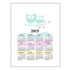 Owls 2015 Calendar printable  wall calendar instant by gonulk  #calendar #calendar2015 #2015 #owl #callendarnursery #hearts #wallcalendar #printablecalendar #love #instantdowload #noel #christmas #giftideas #newyear
