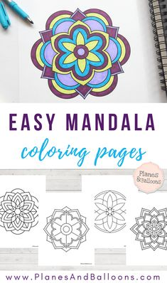 Easy coloring pages - Easy mandala coloring pages that you'll actually want to color – Easy coloring pages Coloring Pages For Grown Ups, Easy Coloring Pages, Free Adult Coloring Pages, Mandala Coloring Pages, Free Printable Coloring Pages, Coloring Books, Coloring Sheets, Mandalas For Kids, Really Cool Drawings