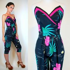 Vintage 80s does 50s Pin Up Hawaiian Jumpsuit. Floral Cotton Hot Pink Floral Bustier Bullet Bra Playsuit Cigarette Harem Pants. Extra Small on Etsy, $178.00