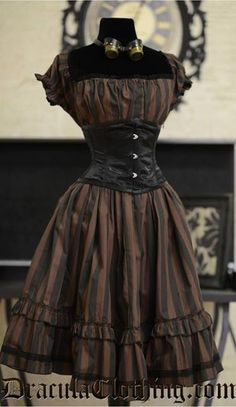 Steampunk black and brown striped dress with black waist cincher. Cute and simple dress that conveys so much style. Steampunk black and brown striped dress with black waist cincher. Cute and simple dress that conveys so much style. Costume Steampunk, Steampunk Dress, Steampunk Wedding, Victorian Steampunk, Steampunk Clothing, Steampunk Fashion, Steampunk Witch, Victorian Coat, Medieval Gothic